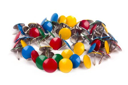 drawing pins thumb tacks in many colors isolated on white background  Stock Photo