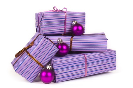 Christmas gifts with christmas  balls isolated on white background