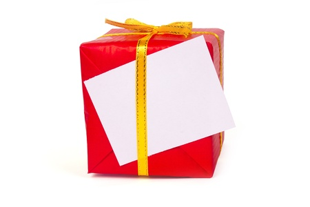 Red gift box with a gold bow isolated on white background Stock Photo
