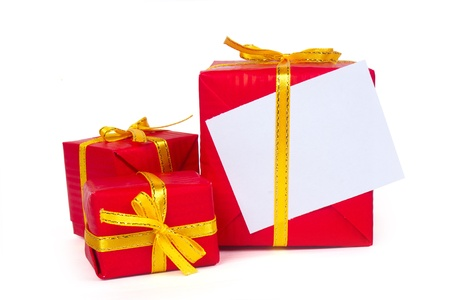 Three red gift boxes on on a white background