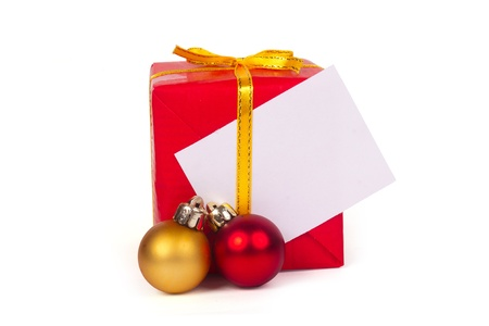 One red gift and christmas balls isolated on white background  Stock Photo