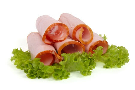 Rolled ham isolated on white background  Stock Photo