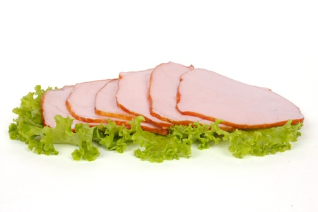 Slices of ham isolated on the white background