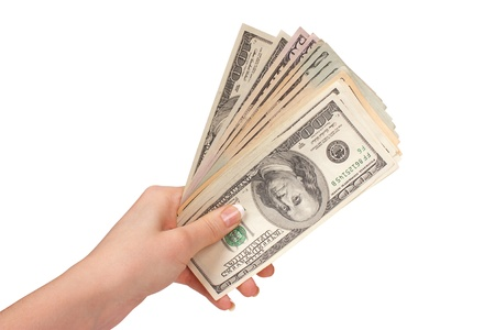 earn money: Female hand with dollars on a white background Stock Photo