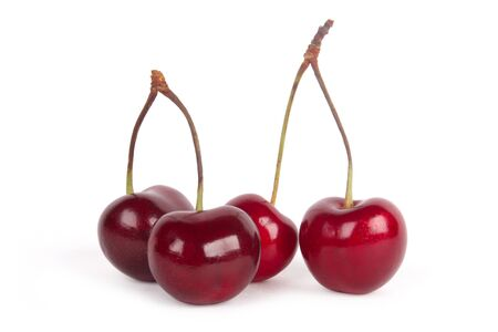 Red cherries isolated on a white background  Stock Photo