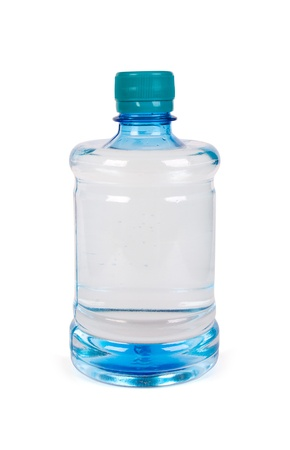 Little bottle of water isolated over a white background