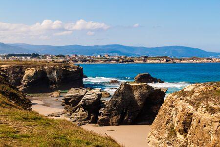 Wonderful stone figures. Eroded beach coastline. Cathedrals beach at Atlantic Ocean, Cantabric coast Lugo, Galicia, Spain - Playa de las Catedrales