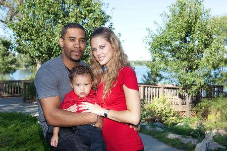 Interracial Family in the Park photo