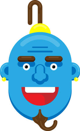 Flat Laughing Genie Face Vector, illustration.