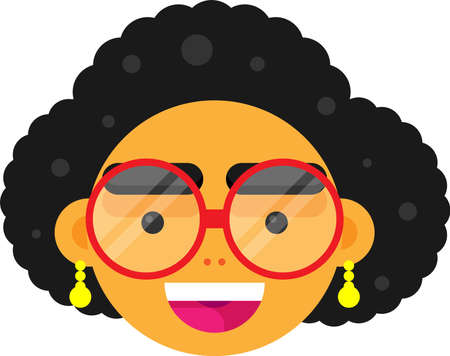 Smiling Woman Face Vector, illustration, with Golden Earrings and Red Specs.