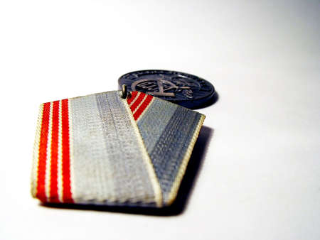 Soviet medal (label on medal means work veteran), dream tone Stock Photo