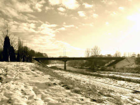 River in winter, sepia mode