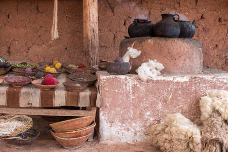 Ceramic pots, alpaca wool and handmade items near Cusco Peru