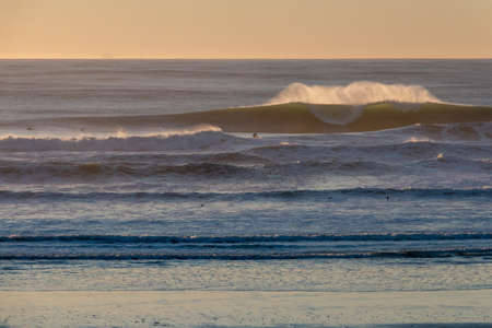 Large surf pounds the coast in northern California