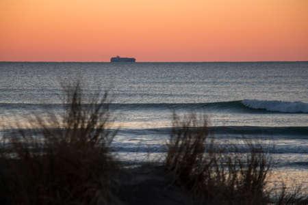 Sunset waves breaking at Ocean Beach, San Francisco, California Stock Photo
