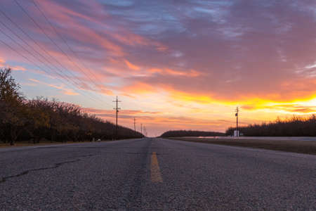 A rural road in Central Valley, California at dawn
