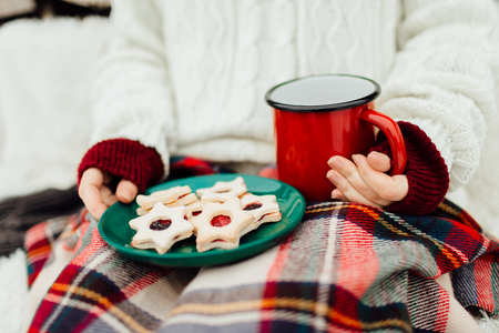 Cropped image of a woman holding a plate of christmas cookies and a cup of tea Фото со стока