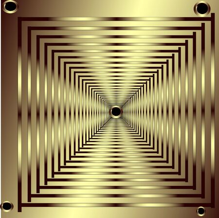 Leaving gold squares with gold rivets Vector
