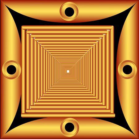 gradually: Gradually decreasing the frame painted gold gradient Illustration