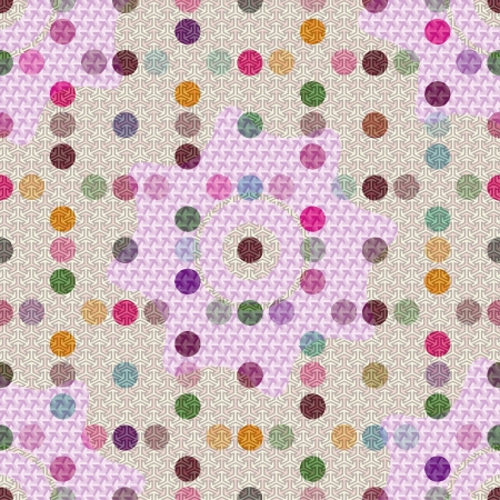 Vector - Seamless patterned white texture with colorful polka dots  Vector