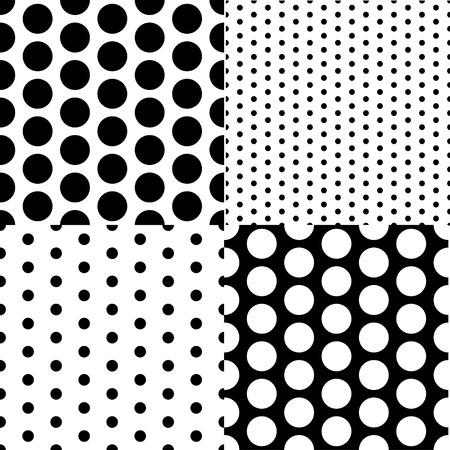 dots: Set of four vector seamless patterns with small and large white and black peas
