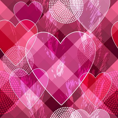 spotty: Seamless  valentine spotty pattern with  translucent hearts