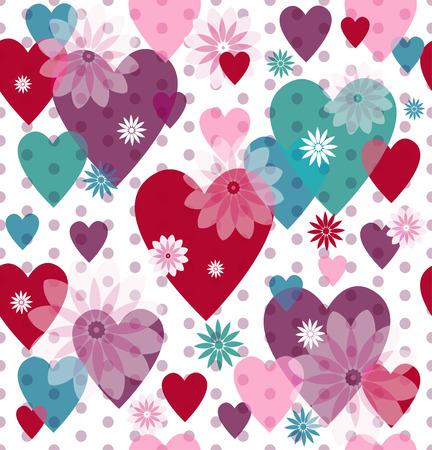 Seamless valentine modelo manchado con corazones translúcidos