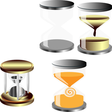 no background: Vector set of decorative hourglass no background substrate Illustration