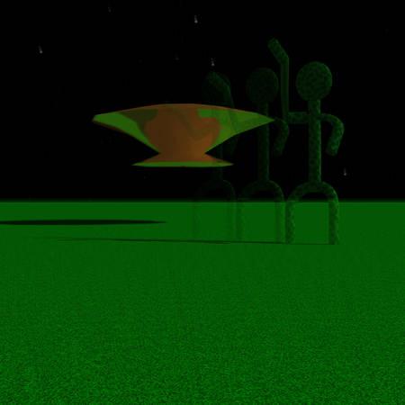 Green aliens awaiting landing vehicle in the night sky