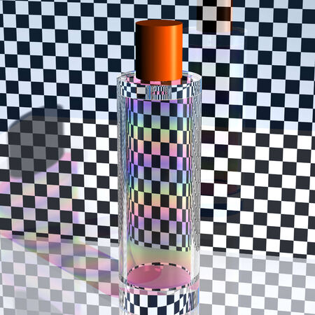 brittle: Rainbow in a glass bottle on the background of chess squares Stock Photo