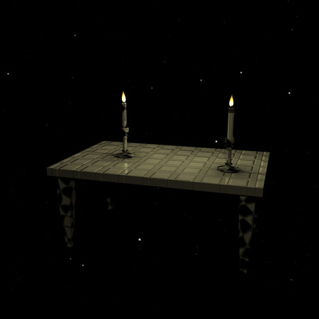 night table: Two candles burning on the table in the night sky Stock Photo