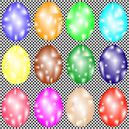 terrazzo: Set of ornate Easter eggs on seamless texture of dots
