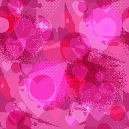 saint valentin coeur: Texture homog�ne fleuri sous la forme de tuiles carr�es