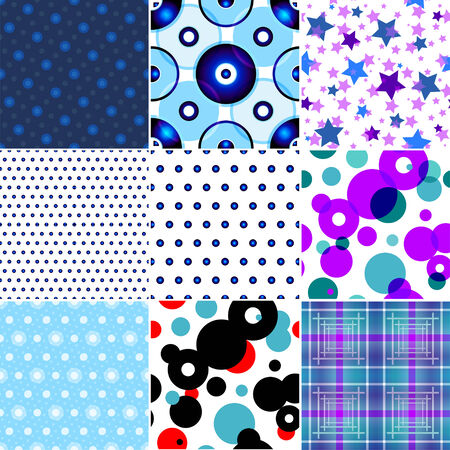 Set of nine seamless patterned texture in a square Vector