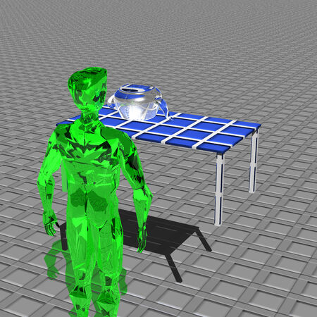 upturned: Green alien faces upturned kettle being transparent on the table