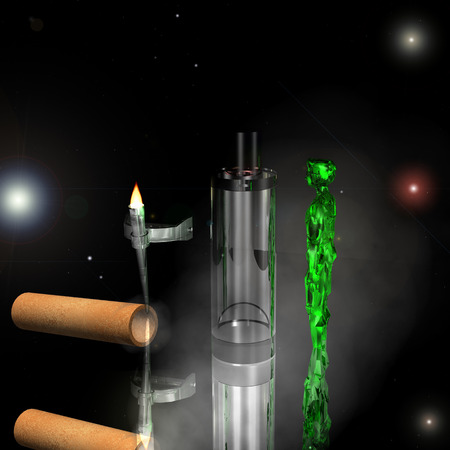 teleportation: Green alien to teleport transparent chamber in the smoke