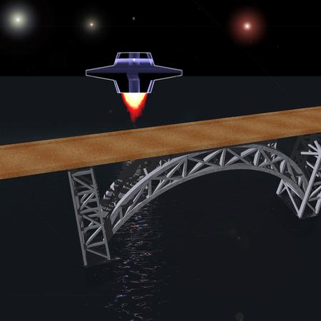 interplanetary: Interplanetary spacecraft flies to the bridge at night Stock Photo