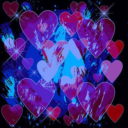 Patterned drawing Valentines Day on a black background Vector