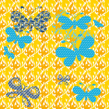 Butterflies on a patterned background Seamless texture in the form of square tiles Vector