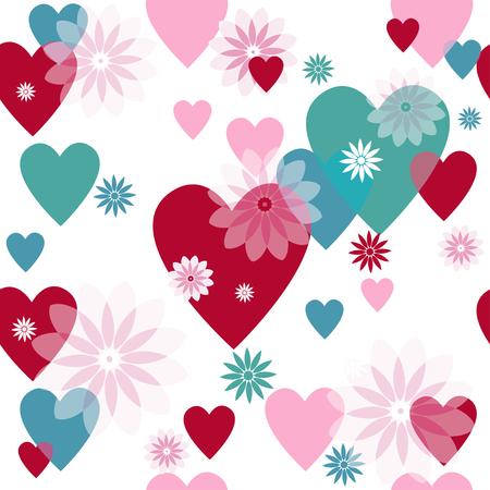 spotty: Seamless valentine spotty pattern with translucent hearts Illustration