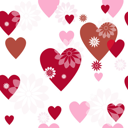 Seamless valentine spotty pattern with translucent hearts Vector