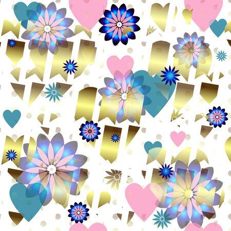 translucent: Seamless valentine pattern chiazzato con cuori traslucidi