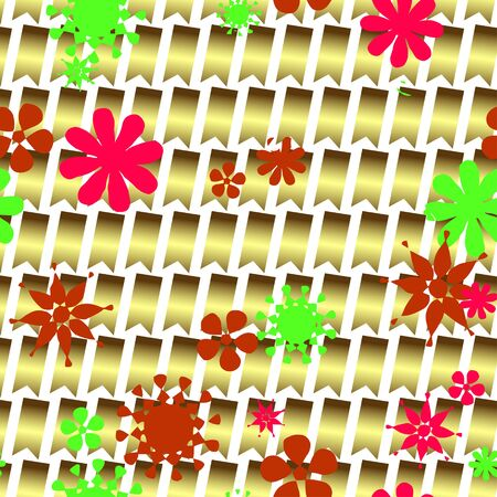 patrones de flores: Seamless decorative pattern of flowers in a square