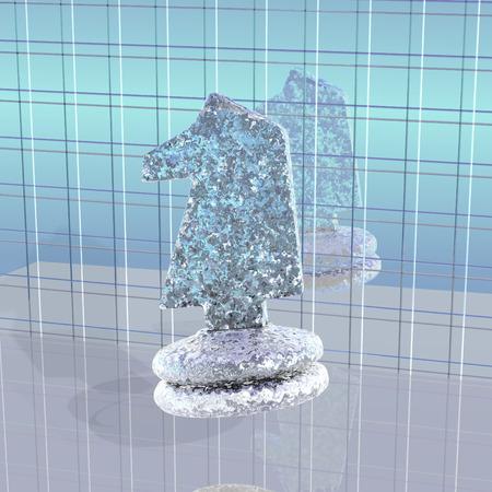"caballo de ajedrez: Decoraci�n: ""caballo de ajedrez extra�o en un azulejo de fondo"" Foto de archivo"