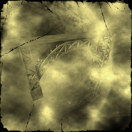 axle: Illustration: Old photo of the bridge over the clouds in a distant galaxy