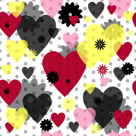 spotty: Seamless valentine spotty pattern with translucent hearts Illustration