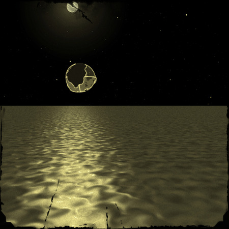 unidentified: Illustration: Old photo of an unidentified object over the water