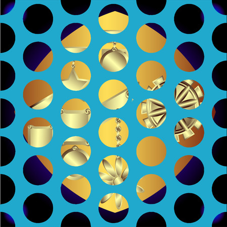 terrazzo: Set of decorative gold ornaments on a black background  in the form of a square Illustration