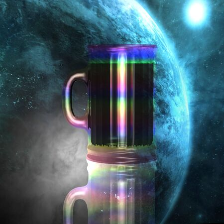 the blue planet: Huge rainbow cup on a background of blue planet Stock Photo