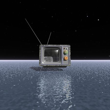 space television: An object similar to old television above the water surface in the night sky Stock Photo